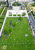 France,Paris, 15th arrondissement, Parc André Citroën, General view from the tethered balloon, Parisians trying to enjoy the nice weather