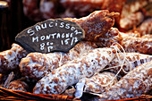 France,Seine et Marne, Fontenay Trésigny, Craft market, Close up of sausage mountain