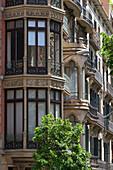 Spain, Catalonia, Barcelona, La Rambla de Catalunya, Façade of XIX bourgeois  buildings with bow-windows