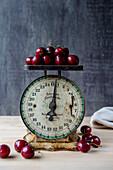 Cherries on Antique Scale