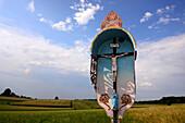 Wayside cross near Wasserburg at Inn river, Upper Bavaria, Bavaria, Germany