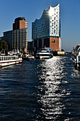 View towards the Elbe Philharmonic Hall from the waterside, Hamburg, Germany
