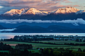 Snowcapped mountains in rural landscape, Te Anau, Southland, New Zealand