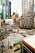 Monorail in Seattle cityscape, Washington, United States