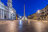 Piazza Navona and Four Rivers Fountain illuminated at night, Rome, Italy