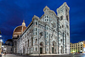 Low angle view of Basilica di Santa Maria del Fiore illuminated at night, Florence, Tuscany, Italy