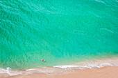 Aerial view of Caucasian man swimming in ocean on beach