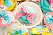 Close up of decorated cupcakes