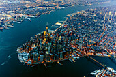 Aerial view of Manhattan cityscape and river, New York, United States