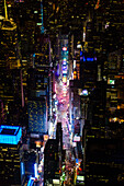Aerial view of Manhattan cityscape at night, New York, United States