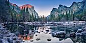 Mountains overlooking remote stream, Tuolumne, California, United States