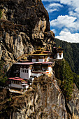 Buildings on rocky remote hillside, Paro, Western Bhutan, Bhutan