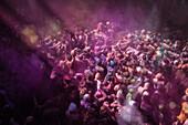High angle view of revelers celebrating Holi Festival