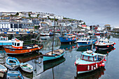 Fishing boats moored in pretty Mevagissey harbour, Cornwall, England, United Kingdom, Europe