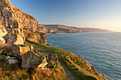 Cliff top footpath running alongside limestone cliffs, Winspit, Isle of Purbeck, Jurassic Coast, UNESCO World Heritage Site, Dorset, England, United Kingdom, Europe