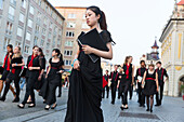Young singers walking to the concert, Chinese women, Bachfest Leipzig 2015, German and Chinese choir, intercultural exchange, Bach Academy, Leipzig, Saxony, Germany