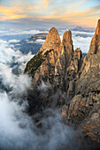 Aerial view of Santner peak at sunset, Sciliar Natural Park, Plateau of Siusi Alp in the Dolomites, Val Funes, Trentino-Alto Adige South Tyrol, Italy, Europe