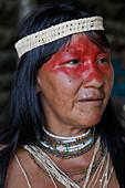 Native Huaorani people at Yasuni National Park, Amazon, Ecuador, South America