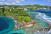view to beach, reef, rocks and Kingstown, sea, Young Island, St. Vincent, Saint Vincent and the Grenadines, Lesser Antilles, West Indies, Windward Islands, Antilles, Caribbean, Central America