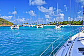 view from a yacht in the harbour to sailing ships and catamarans, sea, Saltwhistle Bay, Mayreau, Tobago Cays, St. Vincent, Saint Vincent and the Grenadines, Lesser Antilles, West Indies, Windward Islands, Antilles, Caribbean, Central America