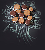 Chalk Drawing of Flowers with Mini S'mores
