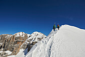 Two Men skitouring on the ridge to Cima d´Agola in the Area of the Brenta Dolomites Madonna di Campiglio, Skitour, Brenta Gebirge, Dolomites, Trentino, Italien