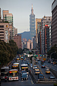Traffic in Taipeh, in the background Taipei Financial Center, Taipei 101 skyscraper, Taiwan, Republic of China, Asia