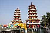 Dragon and Tiger Pagoda, temple at the lake lotus in Kaohsiung, Taiwan, Republik China, Asia