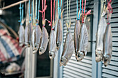 small fishes hanging for drying in front of house at fishing village Tai O, Lantau Island, Hongkong, China, Asia