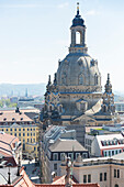 view from Hausmannsturm to Frauenkirche, Dresden, Saxony, Germany, Europe