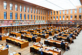 reading room in Saxon State University Library Dresden (SLUB), academic library, University of Technology, students, modern architecture, Dresden, Saxony, Germany, Europe