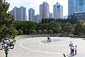 People in Changshou Park, kids, skyscrapers, residential area, square, Putuo District, Shanghai, China, Asia
