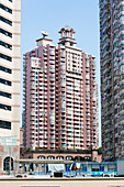 Pink appartment house, skyscraper, living area, Putuo District, Shanghai, China, Asia
