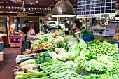 Tianzifang, vegetable market, fresh market, greens, vegetarian, Shanghai, China, Asia