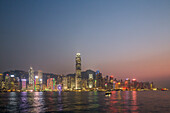 Star Ferry night-time, night light, passenger boat, city lights, skyline, Victoria Harbour, Hong Kong, China, Asia
