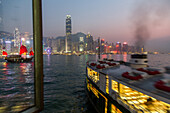 ferry terminal, pier, Star Ferry night-time, city lights, junk, red sails, public transport, water, passenger boat, Victoria Harbour, Hong Kong, China, Asia