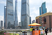 Pudong, architecture, hawker, skyscrapers, towers, high-rise, mobile stall, icon, finance, Shanghai, China, Asia