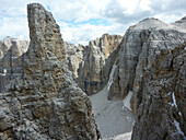 View into Val De Mesdi, Sella Group, Dolomites, South Tyrol, Italy