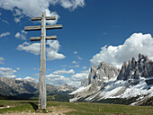 On top of Brogles, view to Geisler range, Dolomites, South Tyrol, Italy