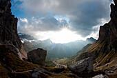 Sunset near Passo Ombretta, Marmolada, Dolomites, South Tyrol, Italy