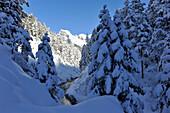 Deep snowy Karwendel, view into Hinterautal, Karwendel, Tyrol, Austria
