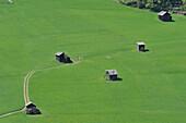 Small hay barns near Sexten, Sexten Dolomites, South Tyrol, Italy