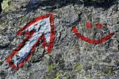 Trail marker in the Stubai Valley, Stubai Alps, Tyrol, Austria
