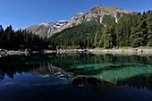 Lake Obernberg in the Obernberg Valley, View to Obernberg Tribulaun, Stubai Alps, Tyrol, Austria