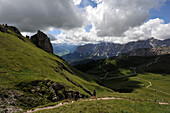 Climbing Peitlerkofel, View to Gader Valley, Dolomites, South Tyrol, Italy