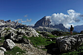 Climbing Mount Nuvolau, View to Tofana, Nuvolau Group, Dolomites, South Tyrol, Italy