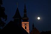 Heiligenkreuz monastery in the moonlight, Wienerwald, Lower Austria, Austria