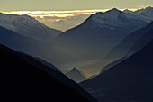 Evening mood from the summit of Wank, View to Pitztal Alps, Mieminger Group, Tyrol, Austria