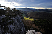 On top of the Peilstein, View to Hafnerberg village, Lower Austria, Austria