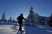 Snowshoeing on Gleinser Mountain, View to top of Serles, Stubai Alps, Tyrol, Austria